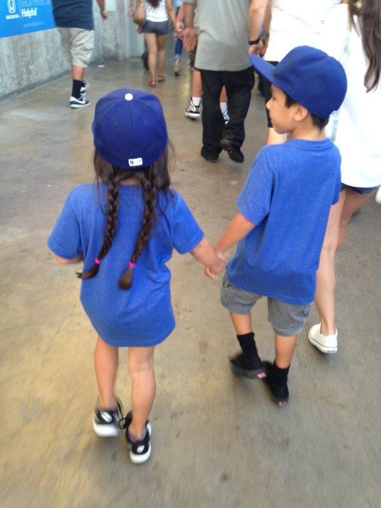 Evelyn and Elijah at the Dodger Game
